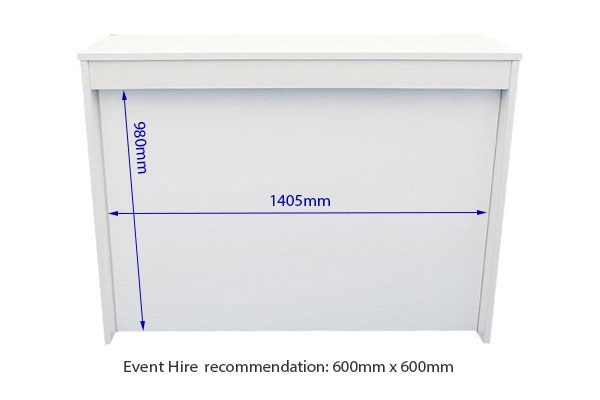 Vinyl measurements white reception desk