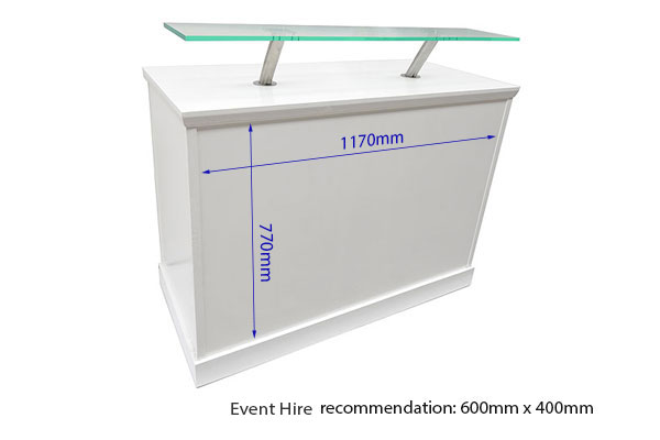 Vinyl measurements white reception desk with front perspex shelf