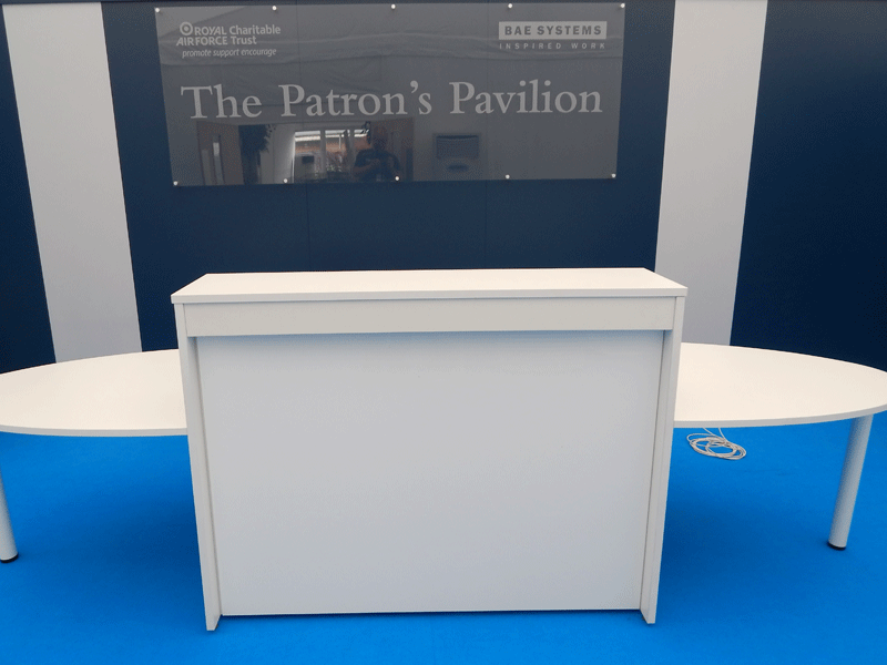 White Reception Desk With Curved Ends Hire